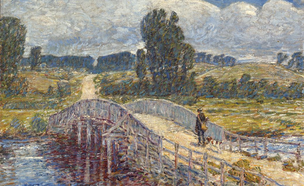 Bridge at Old Lyme Artist: Frederick Childe Hassam (American, 1859 - 1935) Date: 1908 Medium: Oil on canvas Dimensions: Sight: 23 5/8 × 25 5/8 in. (60 × 65.1 cm) Credit Line: Georgia Museum of Art, University of Georgia; Eva Underhill Holbrook Memorial 采集 of American 艺术, Gift of Alfred H. Holbrook Object number: 1945.47